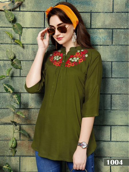 Designer Mehendi Color Rayon Embroidered Top