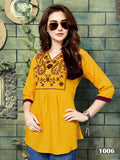 Designer Yellow Color Rayon Embroidered Top
