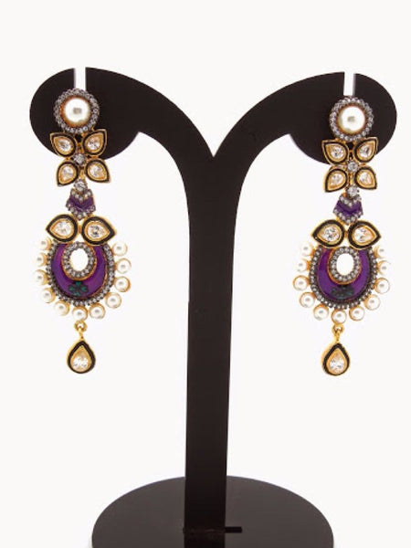 Golden and Purple Earrings - PurpleTulsi.com