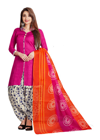 Pink Cotton Printed Patiala Suit