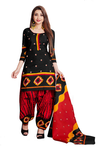Black Cotton Printed Patiala Suit