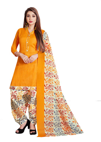 Yellow Cotton Printed Patiala Suit