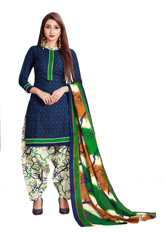 Navy Blue Cotton Printed Patiala Suit