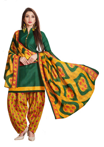 Green Cotton Printed Patiala Suit