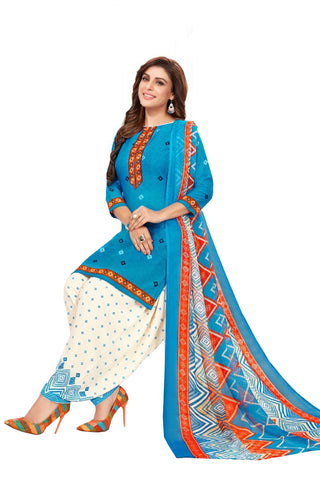 Blue Cotton Printed Patiala Suit