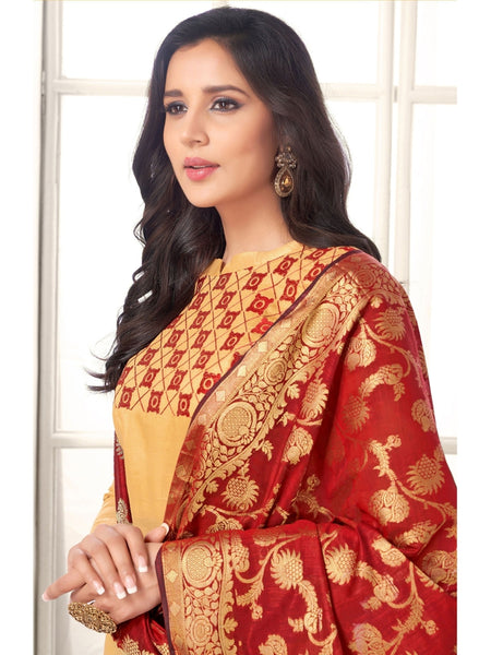 Designer Beige Color Embroidered Cotton Straight Cut Suit with Banarasi Dupatta