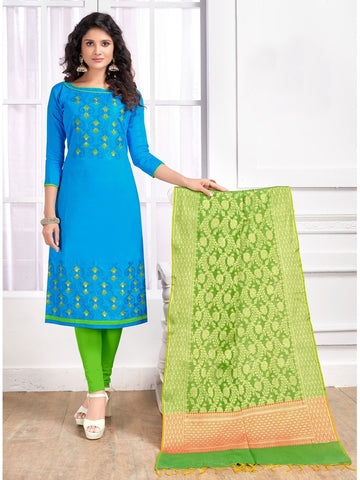 Designer Sky Blue Color Embroidered Cotton Straight Cut Suit with Banarasi Dupatta