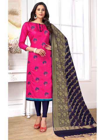 Designer Pink Color Embroidered Cotton Straight Cut Suit with Banarasi Dupatta