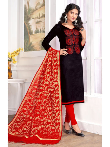 Designer Black Color Embroidered Cotton Straight Cut Suit with Banarasi Dupatta