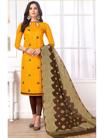 Designer Orange Color Embroidered Cotton Straight Cut Suit with Banarasi Dupatta