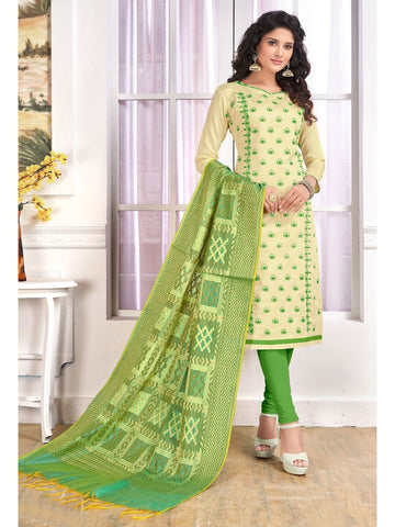 Designer Cream Color Embroidered Cotton Straight Cut Suit with Banarasi Dupatta