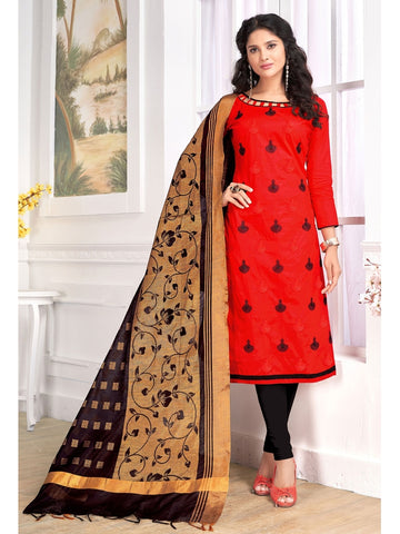 Designer Red Color Embroidered Cotton Straight Cut Suit with Banarasi Dupatta
