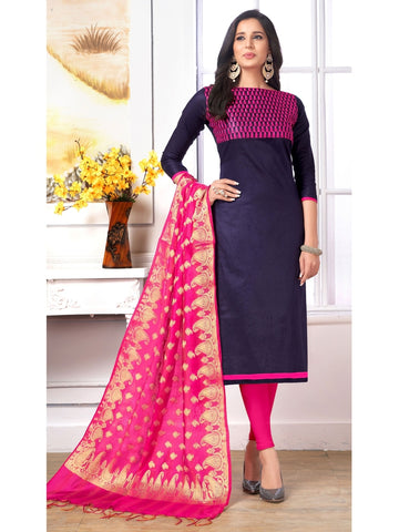 Designer Blue Color Embroidered Cotton Straight Cut Suit with Banarasi Dupatta