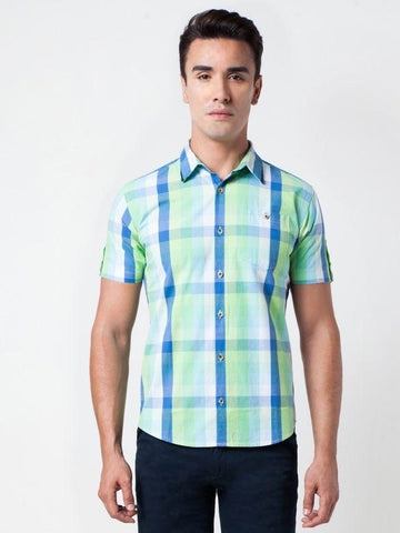 Checked Cotton Green Formal Shirt