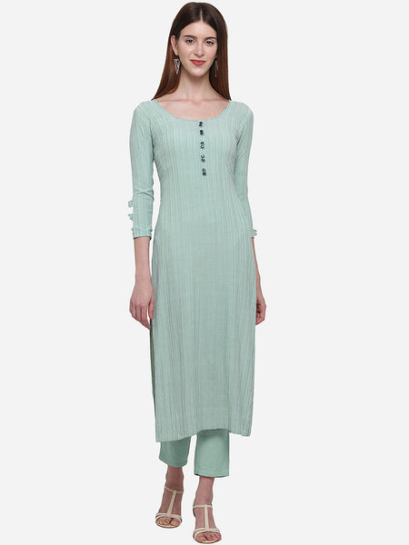 Sky Green Color Viscose Cotton Printed Straight Cut Kurti
