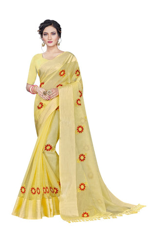 Mustard Cotton Silk Chain Stitch Designer Saree