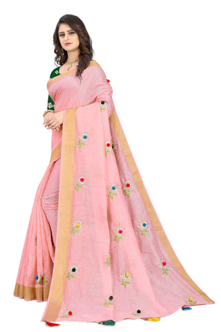 Pink Cotton Silk Designer Saree