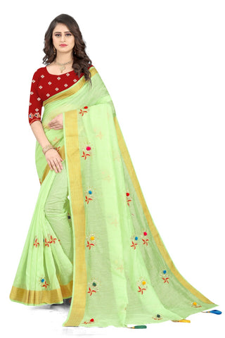 Light Green Cotton Silk Designer Saree