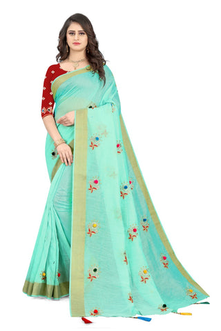 Sea Green Cotton Silk Designer Saree