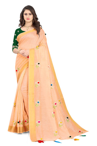 Peach Cotton Silk Designer Saree