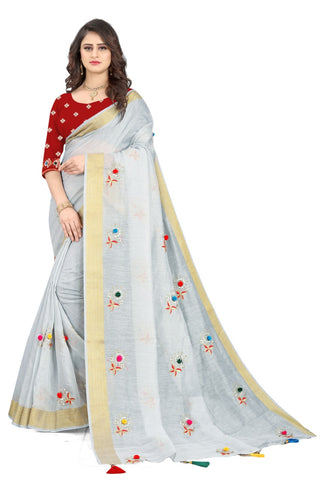 Grey Cotton Silk Designer Saree