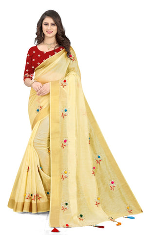 Mustard Cotton Silk Designer Saree