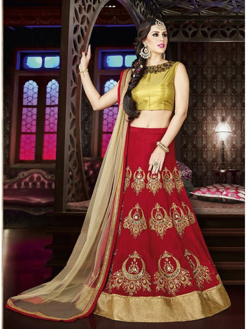 Diwali Special Red Color 3 Piece Designer Set with Fine Zari and Resham embroidered work