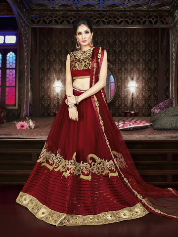 Diwali Special Maroon Color 3 Piece Designer Set with Fine Zari and Resham embroidered work