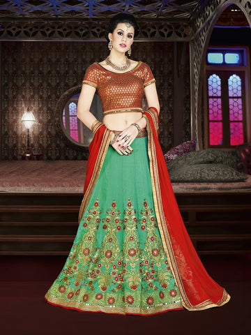Diwali Special Teal Green Color 3 Piece Designer Set with Fine Zari and Resham embroidered work