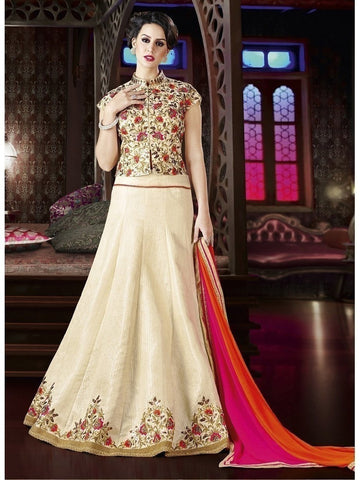 Diwali Special Cream Color 3 Piece Designer Set with Fine Zari and Resham embroidered work