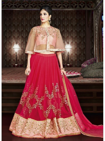 Diwali Special Pink Color 3 Piece Designer Set with Fine Zari and Resham embroidered work