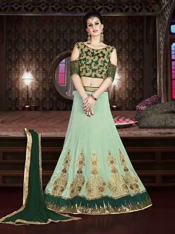 Diwali Special Light Teal Green Color 3 Piece Designer Set with Fine Zari and Resham embroidered work