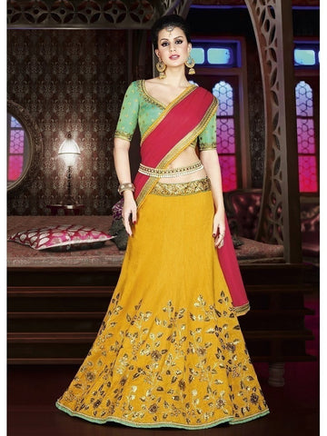 Diwali Special Mustard Color 3 Piece Designer Set with Fine Zari and Resham embroidered work