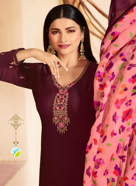 Purple Crepe Silk Embroidered Straight Cut Suit