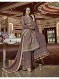 Designer and Beautiful Dark Grey Color Straight Cut Suit with Palazzo Bottom
