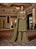 Designer and Beautiful Green Color Straight Cut Suit with Palazzo Bottom