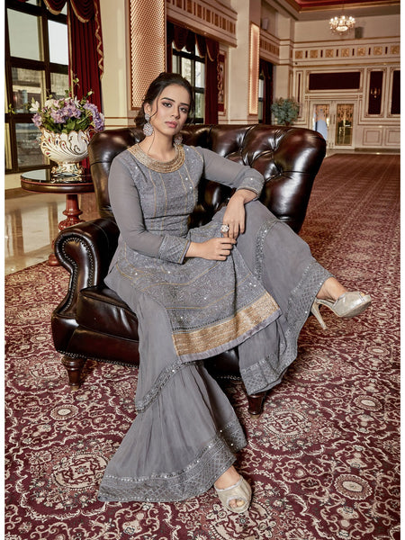 Designer and Beautiful Grey Color Straight Cut Suit with Palazzo Bottom