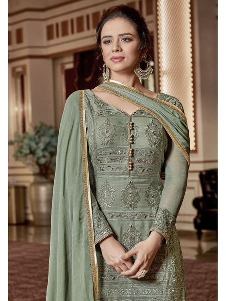 Designer and Beautiful Sea Green Color Straight Cut Suit with Palazzo Bottom