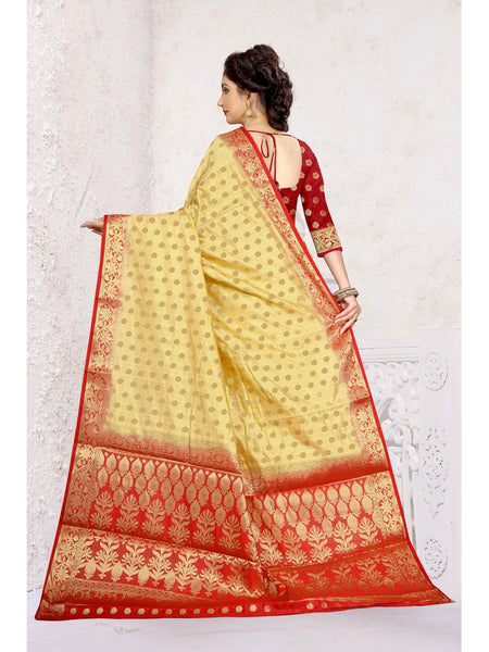 Beige & Red Heavy Banarasi Silk Party Wear Full Jacquard Work Saree