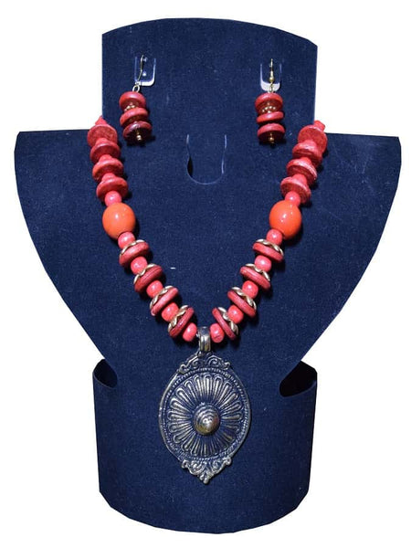 Red Necklace and Earrings Set - PurpleTulsi.com