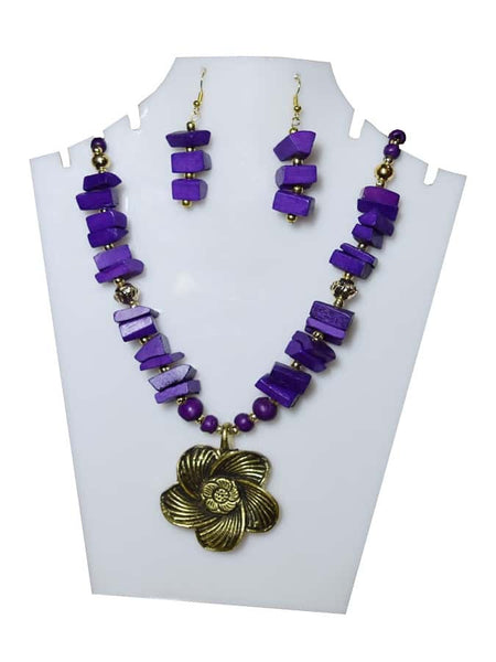 Purple Necklace and Earrings Set - PurpleTulsi.com