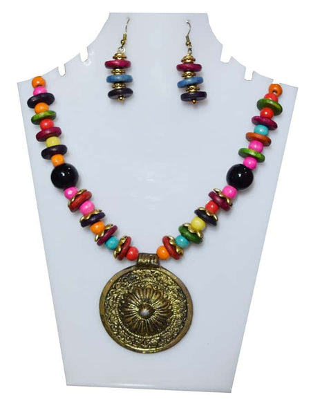 Multicolor Necklace and Earrings Set - PurpleTulsi.com