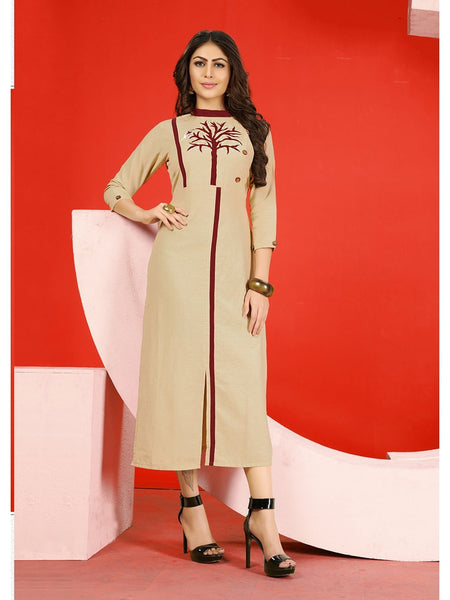 Designer Beige Flex Cotton Embroidered Straight Cut Kurti