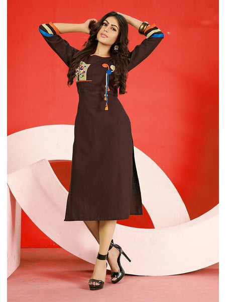 Designer Brown Flex Cotton Embroidered Straight Cut Kurti