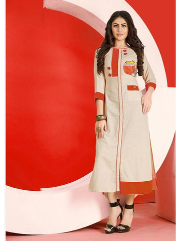 Designer Cream Flex Cotton Embroidered Straight Cut Kurti