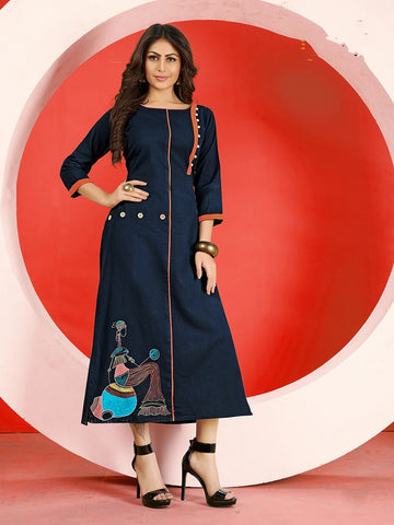 Designer Navy Blue Flex Cotton Embroidered Straight Cut Kurti