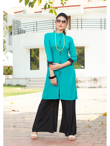 Designer Sky Blue Stylish Rayon Kurti With Rayon Palazzo