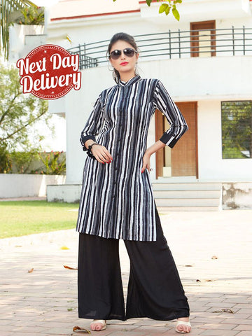 Designer Black & White Stylish Rayon Print Kurti With Rayon Palazzo