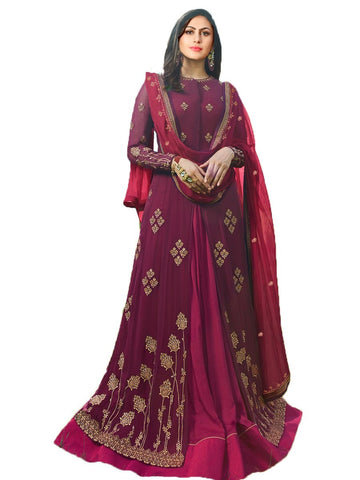 Designer Maroon Color Georgette Embroidered Anarkali Suit