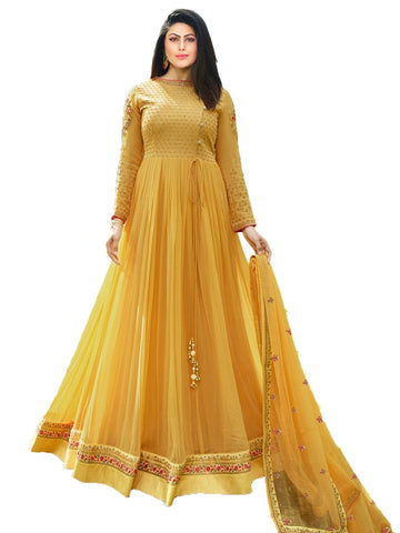 Designer Mustard Color Georgette Embroidered Anarkali Suit